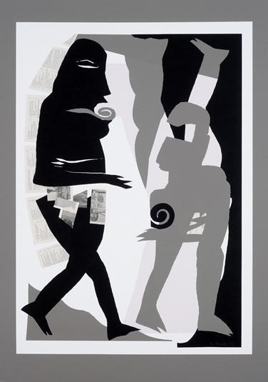 12. Bevormundung (zu Die Wolken von Aristophanes) 2002, Papierschnitt