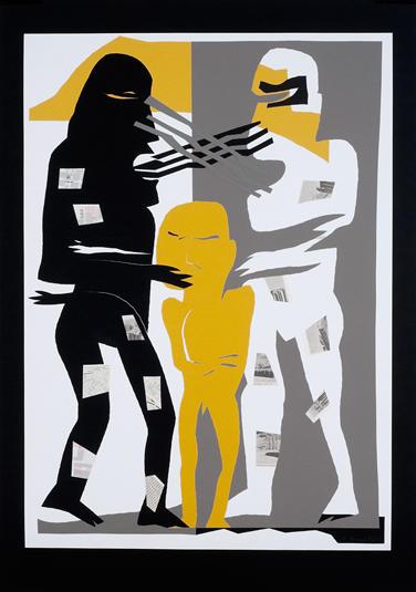 15. Gute Sache - schlechte Sache (zu Die Wolken von Aristophanes) 2002, Papierschnitt