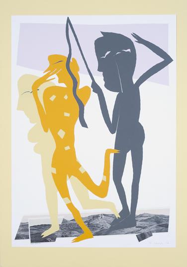 16. Sohn schlägt Vater und Mutter (zu Die Wolken von Aristophanes) 2002, Papierschnitt