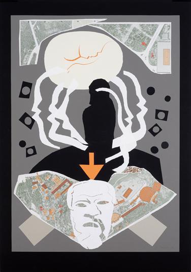 17. Verleumdung (Sokrates), zu Die Wolken von Aristophanes 2002, Papierschnitt