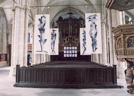 04. Reihe Blattwesen 1999, je 400 x 150 cm, Acryl